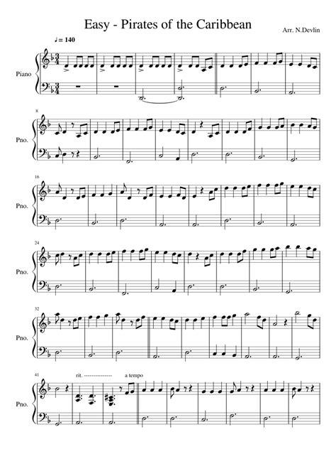 tutorial piano pirates of the caribbean pirates of the caribbean easy piano sheet music for