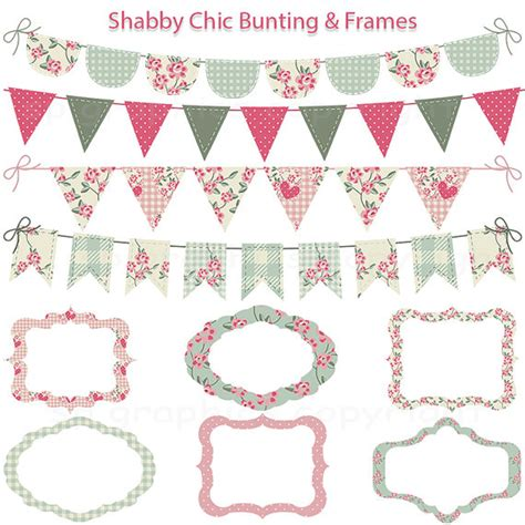 shabby chic bunting and tags frames grunge digital