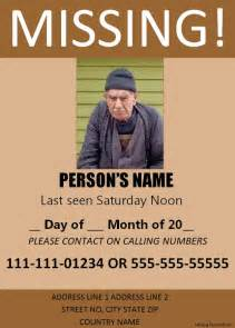 missing person template missing person poster template free printable word