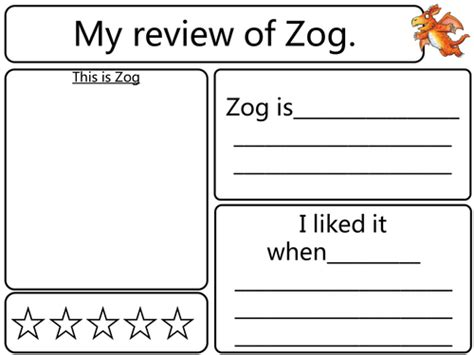 tes new year story resources zog story review sheet by nicklocke84 teaching resources