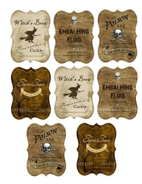 potion label template drink labels for bottles digital collage sheet