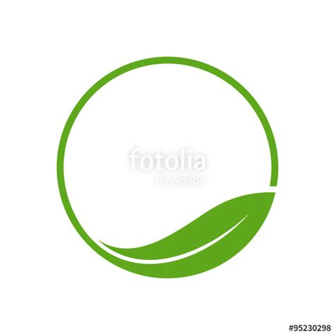 quot organic leaf circle simple emblem logo template quot stock