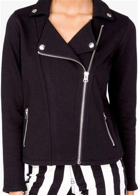 knit moto jacket forever 21 forever 21 knit moto jacket in black lyst