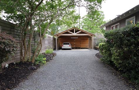 attached carport plans Garage And Shed Traditional with Car Port gravel driveway