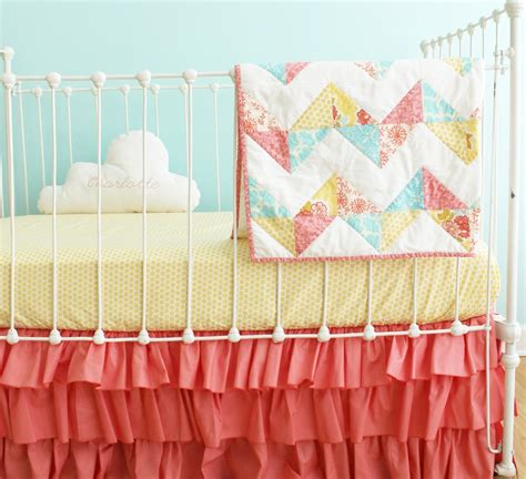 Chevron Baby Quilt Bumperless Coral Baby Girl Crib Bedding Coral Chevron Crib Bedding