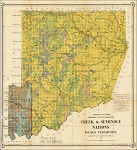 indian territory map map of the creek seminole nations indian territory