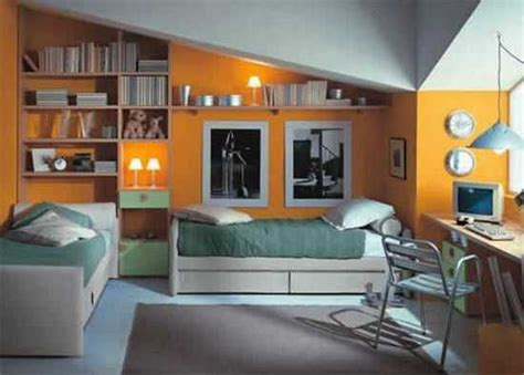 Modern kids room design ideas show well expressed teenage bedroom decor for two storage