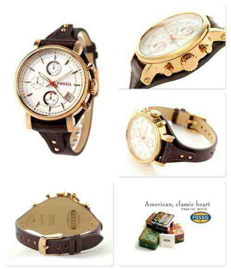 jual jam tangan wanita fossil es3616 original boyfriend chronograph raisin leather baru