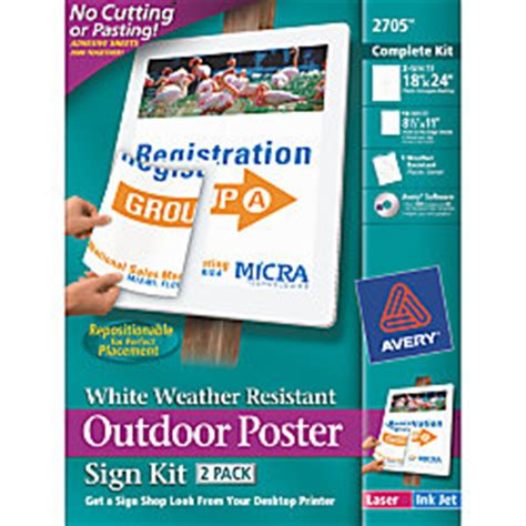Office Depot Yard Signs Avery Outdoor Poster Sign Kit 18 X 24 White Pack Of 2 By