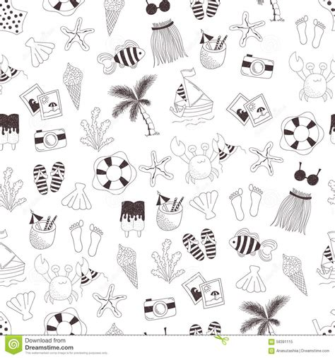 summer doodle free vector vector doodle seamless summer themed pattern stock vector