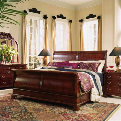Cherry Wood Sleigh Bed American Drew Cherry Grove Wood Sleigh Bed 5 Bedroom Set In Antique Cherry 791 30xr 420 Pkg2