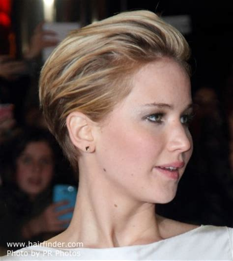 short hairstyles cut into the neck jennifer lawrence hair cut in a pixie with a short