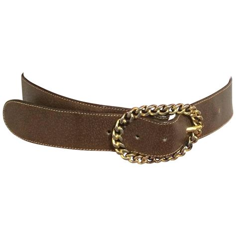 Gucci S36 Gold Drakbrow Leather vintage gucci brown leather belt with detachable golden chain buckle for sale at 1stdibs