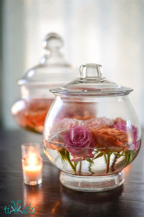jar centerpieces picture of diy easy apothecary jars and roses centerpiece