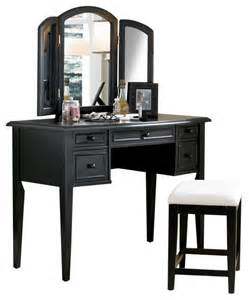 Makeup Vanity And Bench Antique Black W Sand Through Vanity Tri Folding Mirror
