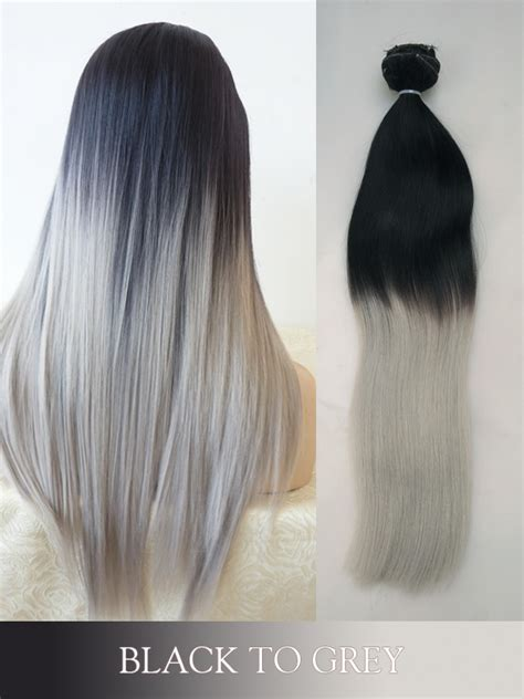 black extensions hair black to grey colored clip in human hair extensions