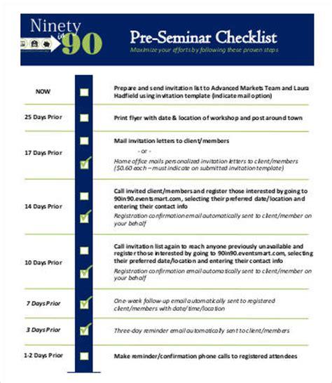 Seminar Checklist Template seminar checklist template 7 free sle exle