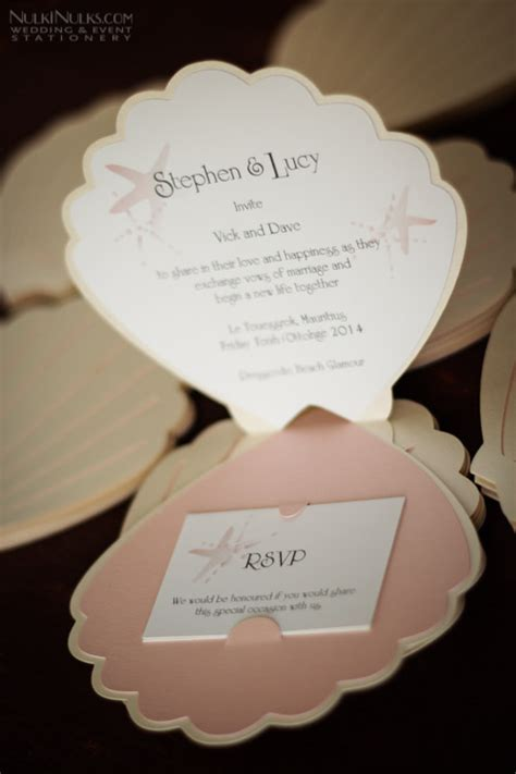 shell shaped card template real weddings stationery ideas 2015 by nulki nulks