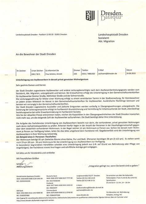 Ich Suche Eine Wohnung by Brief Ist F 228 Lschung Asylbewerberunterbringung In Privaten