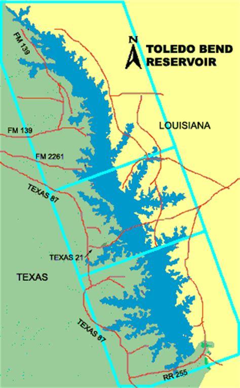 map louisiana dams fishing toledo bend reservoir