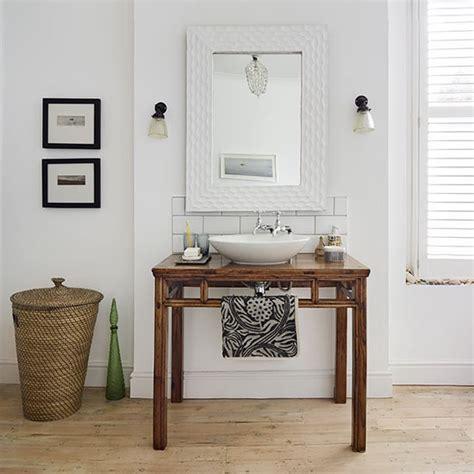 bathroom washstand white bathroom with wooden washstand decorating housetohome co uk