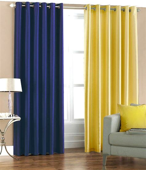 Yellow And Blue Window Valances Pindia Set Of 2pc Plain Eyelet Window Curtains Royal