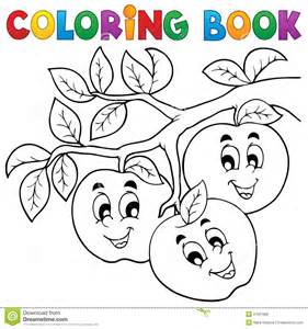 coloring books coloring book fruit theme 1 royalty free stock image