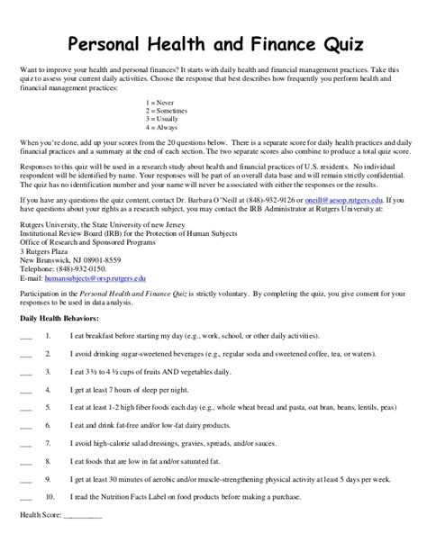boat n net nutrition personal health and finance quiz