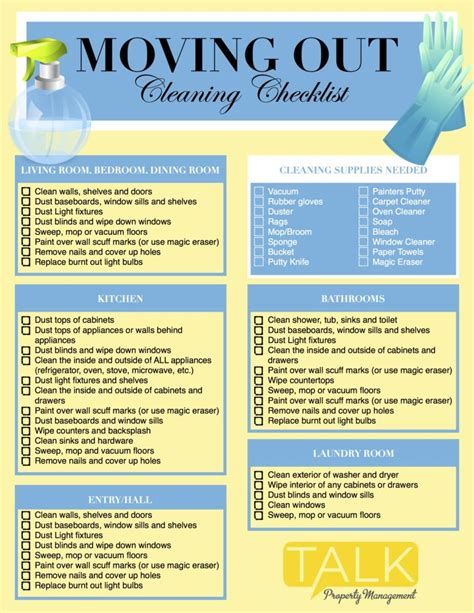 Moving Out Cleaning Checklist ? TALK Property Management