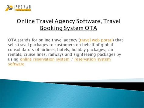 Travel Description by Travel Agency Software Travel Booking System Ota Authorstream