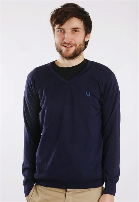 Sweater Fred Perry Fred Perry V Neck Plain Cotton Carbon Blue Sweater