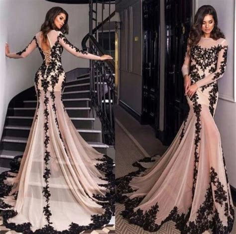 Lace Mermaid Evening Gown lace prom dress chagne prom dress sleeves prom