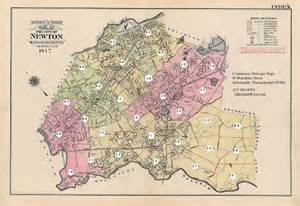 newton map antique vintage maps prints newton massachusetts ma