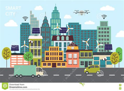 design concept cabanatuan city modern flat line design concept of smart city
