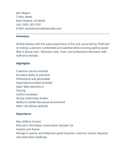 hostess resume exles resume for hostess resume ideas