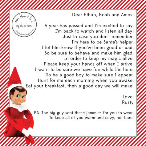 printable elf on the shelf return letter more than 9 to 5 my life as quot mom quot the elf
