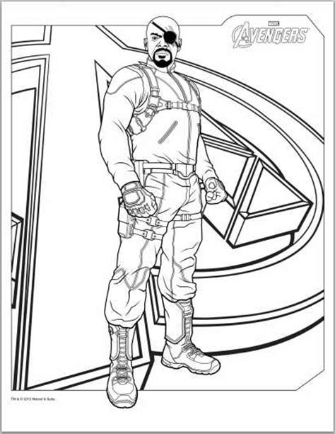 Color Up Avengers 2012 Coloring Pages Fury Coloring Page
