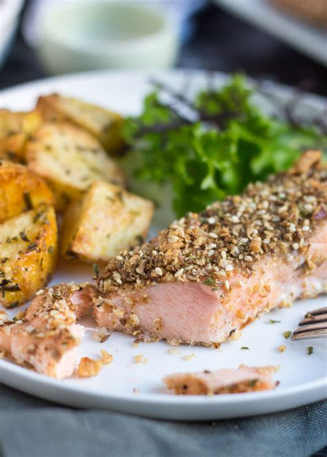 dukkah crusted baked salmon fillets easy peasy meals