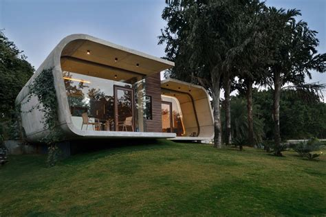 tiny house in india a curved concrete contemporary pool house in india home