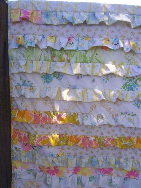 Ruffle Quilt Pattern by Pattern Vintage Sheet Ruffle Quilt