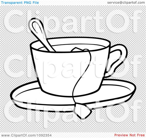 Er Bag Spoon Print clipart outlined tea cup with a spoon bag and saucer
