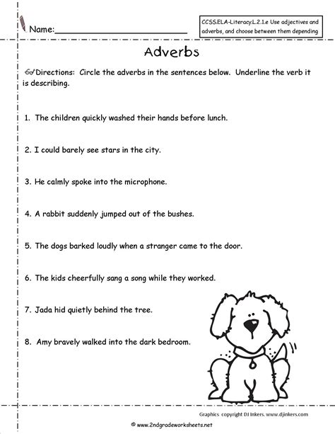 worksheets on adverbs kidz activities