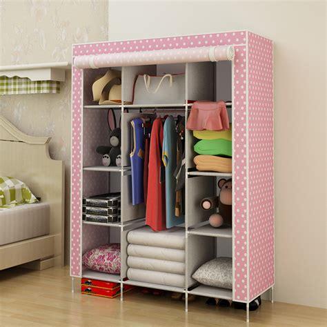 Lemari Pakaian Dari Kain Kabinet Keluarga Produk Baja Bantalan Furniture Tiga