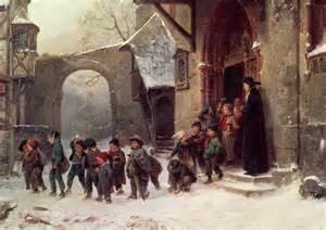 Duvet For Children Snow Scene Children Leaving Painting By Marc Louis