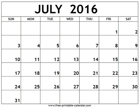 printable monthly calendars for 2016 july 2016 calendar