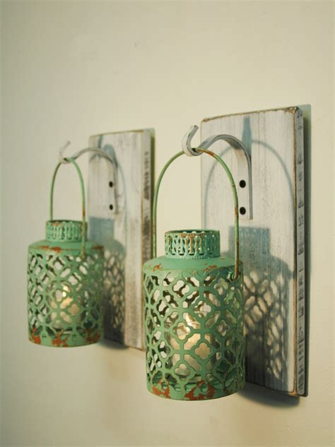 shabby chic lantern shabby chic turquoise lantern pair candles included