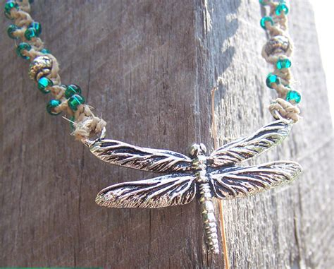 Handmade Hemp Necklaces - sale unique handmade hemp jewelry dragonfly beaded