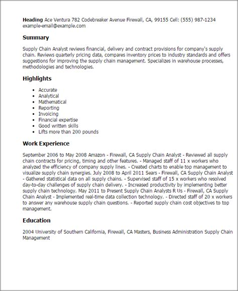 Supply Chain Analyst Resume professional supply chain analyst templates to showcase