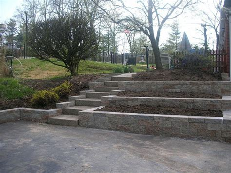 steep backyard 17 best images about tiered retaining wall ideas on
