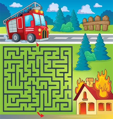printable fire truck maze maze 3 with fire truck theme stock vector image 54302501